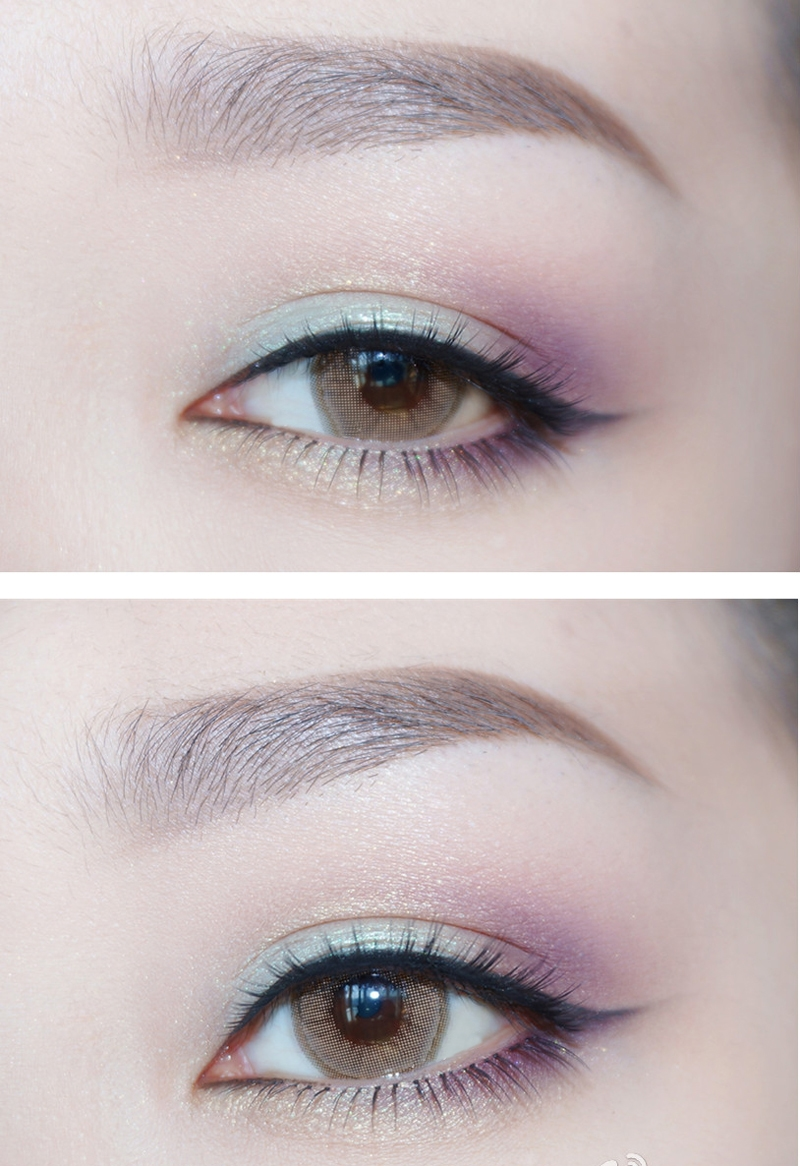 Brown Eye Makeup Tutorial: Light Brown Eye Cosmetic Colored Contact Lenses JELLY