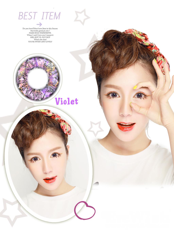 ed524e2a66 Soft Cosmetic Color Contact Lenses Prescription Jade-Like Eye (Purple)