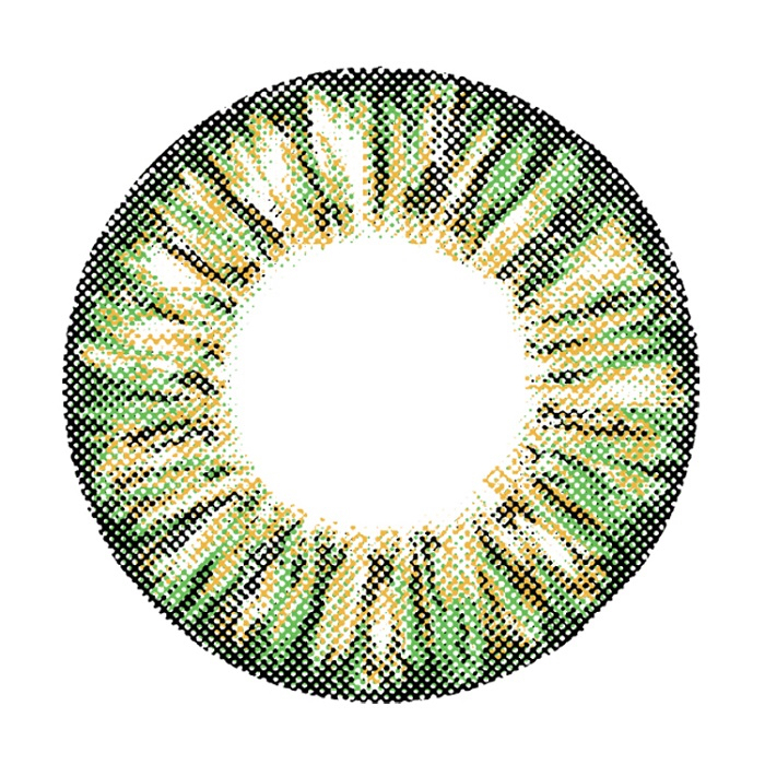 Cosmetic Colored Contact Lenses Ananas Pineapple Style (Green) for Myopia